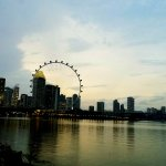 Sunset over Singapore Flyer