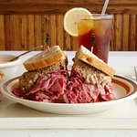 Corned beef topped with chopped liver