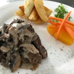Steak Strips with Mushroom sauce, country fried potato and veges