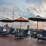 Rooftop during sunset, is a nice place to relaxe and quiet place for sun bathing.