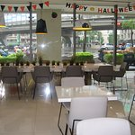 The memorable breakfast/snack/bar area - with October Halloween decorations :)