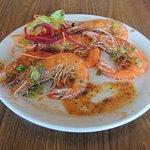 sauteed Kauai shrimp with the heads on in garlic sauce