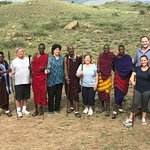 Masai warriors about to teach us how to throw their spears.... Not easy, believe me!!!