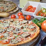 firewood-oven baked vegetarian pizza