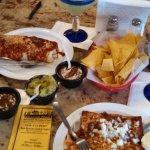 La Botana's tiny Enchiladas and Wet Burrito w/o Beans and Rice