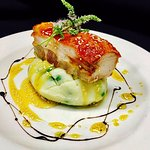 Barkers Creek crispy pork belly, pea & parsnip mash w/ honey sesame & ouzo glaze