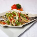 Steamed ginger barramundi, whole fish