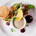 Duck liver pâté with crostini and blackberry and thyme jelly