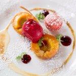 Grilled peaches, vanilla sabayon, raspberry macaron and raspberry sorbet