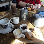 Hot drinks, scones and cake