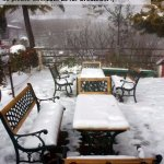 tables laden with snow during winters