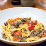 Tagliatelle with fillet beef cherry tomatoes & fresh tyme