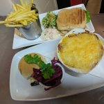 Home made cottage pie, with pickled red cabbage, chicken, bacon and hallumi s/w with this fries