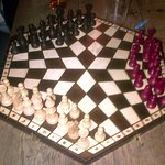 This unusual chess board was able to be used by anyone.