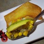 Mango ceviche with crusty papas