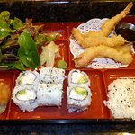 Lunch Box with California Roll and shrimp tempura