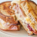 The Woodlawn Grilled Cheese with brie, smoked ham , cranberries and Dijon mustard on rye