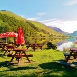 Home-cooked food and real Cask Ales are served in the Beer Garden at the Pen-y-Bont Hotel.
