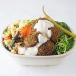 Our famous home-made super green falafels, veg & grain salad, dressed greens tahini and chilli.