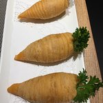 so cute! Flaky pastry covered cooked radish strips