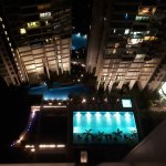 Level 8 pool after dark - view from club lounge level 22