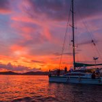 The sunset with the yacht