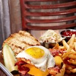 Bacon, Egg, and Cheese Burger served with fries, rings, or salad