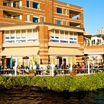 Our waterfront patio is very popular in the summer months.