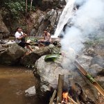 Lunch being prepared by the waterfall