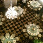 Top view of formal dinner at Casa de Piedra.