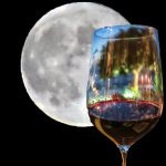 Wine Glass by the Full Moon: photoshopped 2 pics