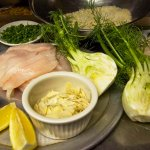 Prepping slivered fennel, slow pan fried almond encrusted Petrale SOLE,