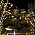 Courtyard fountain at night