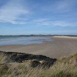 The wide, empty Malltraeth beach from Llanddwyn