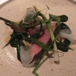 ryeland lamb with young leeks, turnip, brassica tops and damsons