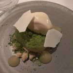 poached pear with buttermilk, pine and yoghurt crumble