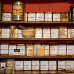 A large selection of teas and an apothecary of spices