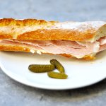 Ham & Swiss Sandwich : on French Baguette or  Croissant.