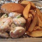 Shrimp salad sandwich with fries