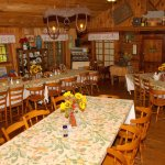 Food Served Family Style in the Rustic Dining Room