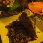 fresh caught Crawfish dinner w rice and peas