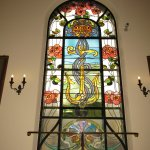 Stairway stained glass window