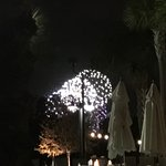 View of the fireworks by the pool.