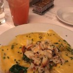 Crab ravioli and a fresh strawberry lemonade
