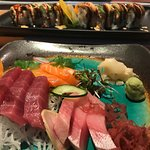 Classic sashimi and Fiery roll