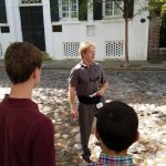 My teenaged sons listening to Michael's presentation of Charleston's history.