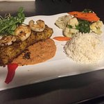Amberjack/Shrimp with Rice and Vegetable Medley