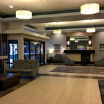 The Holiday Inn Express's lobby is modern and up to date
