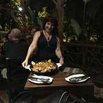 The owner, Montse, shows us our paella mmmmmm....