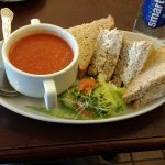 Tomato and red capsicum soup with chicken sandwich